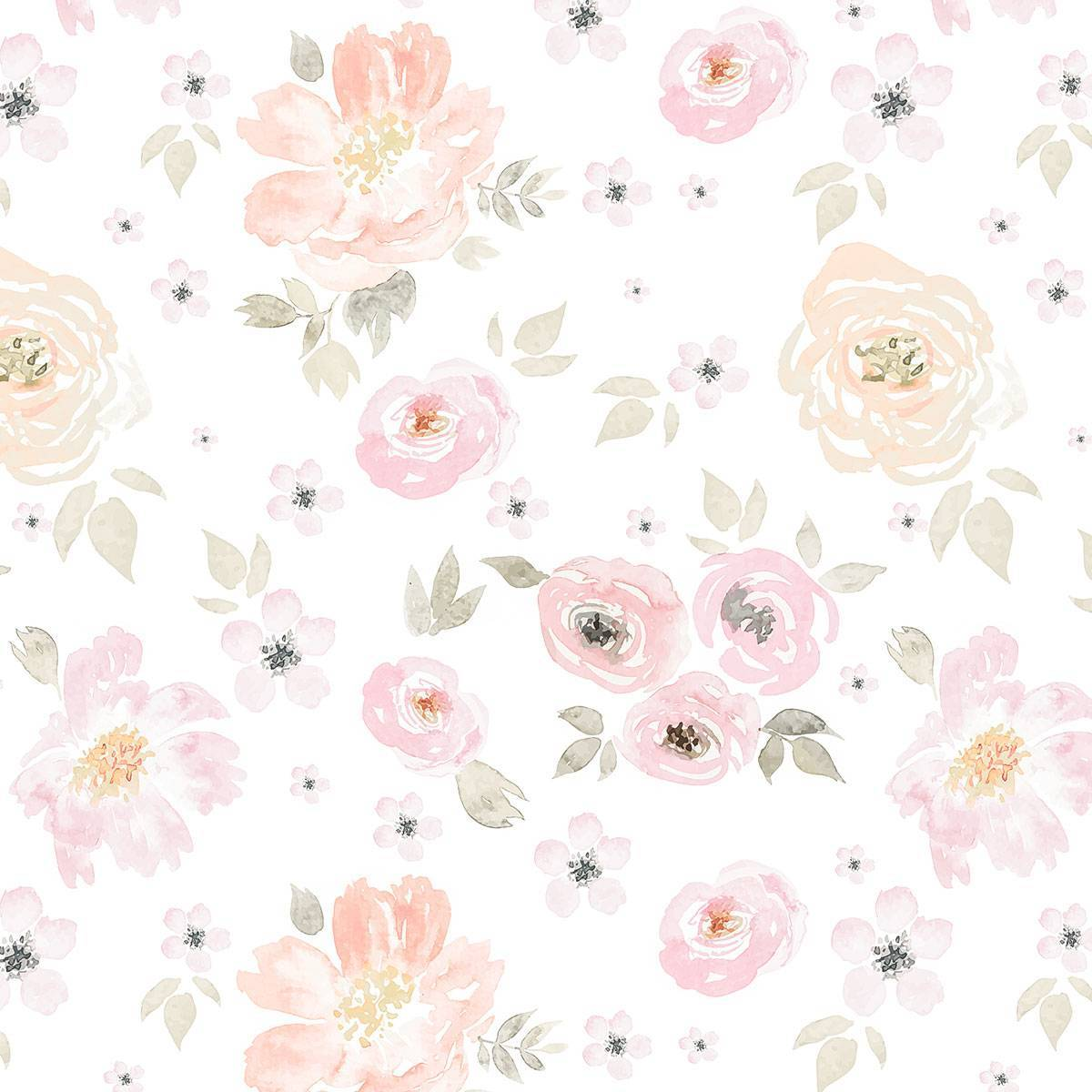 Painel Fotográfico Floral Rosa Aquarela / m² imagem 2