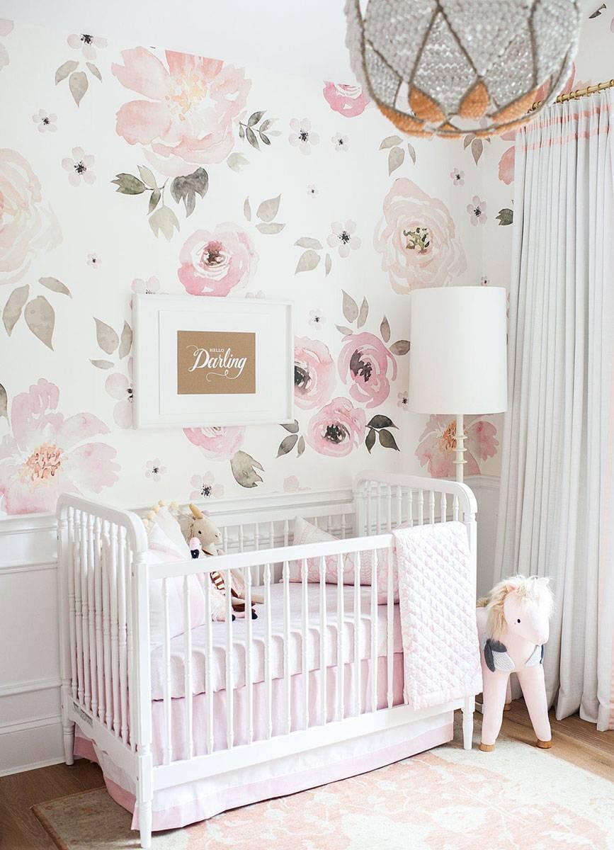 Painel Fotográfico Floral Rosa Aquarela / m² imagem 1