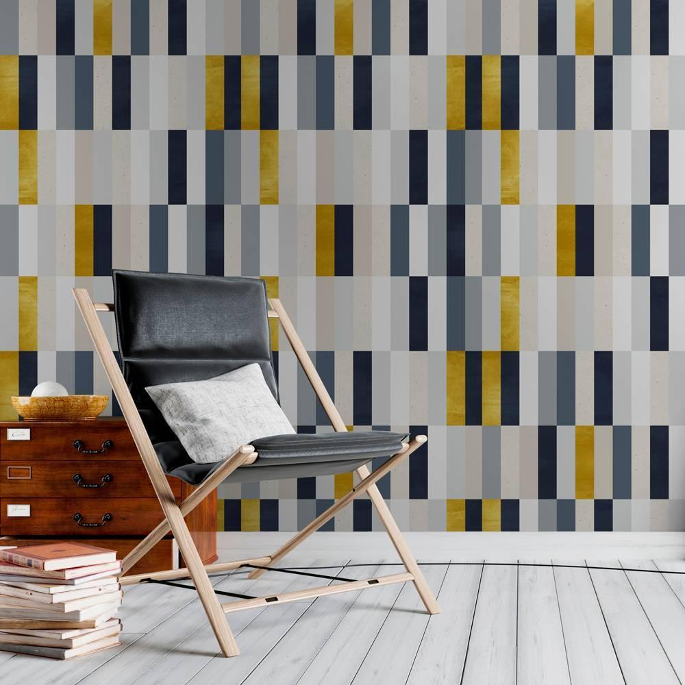 Papel de Parede Amarelo e Cinza Geométrico | Rolo Adesivo imagem 2
