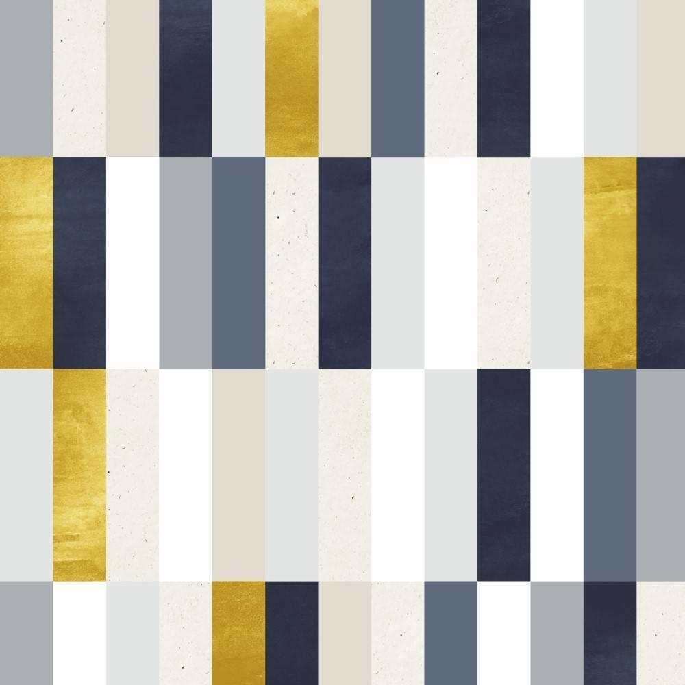 Papel de Parede Amarelo e Cinza Geométrico | Rolo Adesivo imagem 1