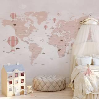Painel Fotográfico Infantil Mapa do Mundo Rosa / m²