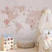 imagem do Painel Fotográfico Infantil Mapa do Mundo Rosa / m²
