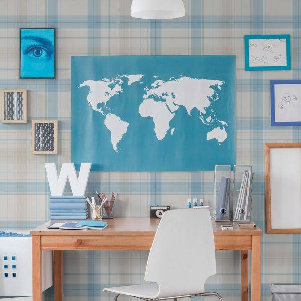 Papel de Parede Xadrez Azul e Bege Claro | Adesivo Vinilico imagem 1