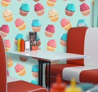 Papel de Parede Cupcakes Coloridos | Adesivo Vinílico