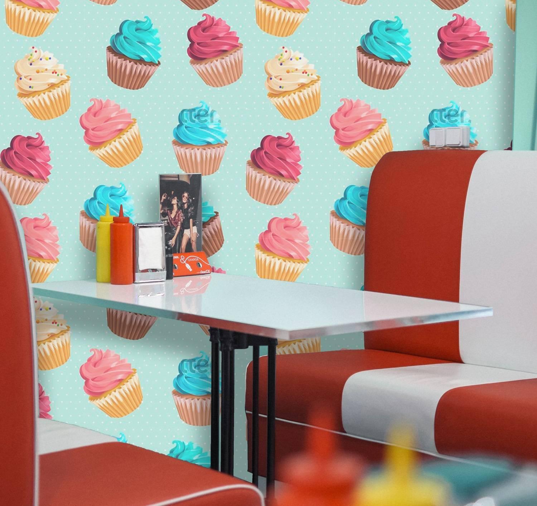 Papel de Parede Cupcakes Coloridos | Adesivo Vinílico imagem 1