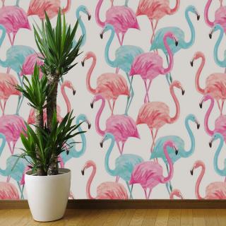 Papel de Parede Flamingos | Adesivo Vinilico
