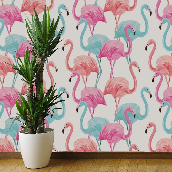 Papel de Parede Flamingos | Adesivo Vinilico imagem 1