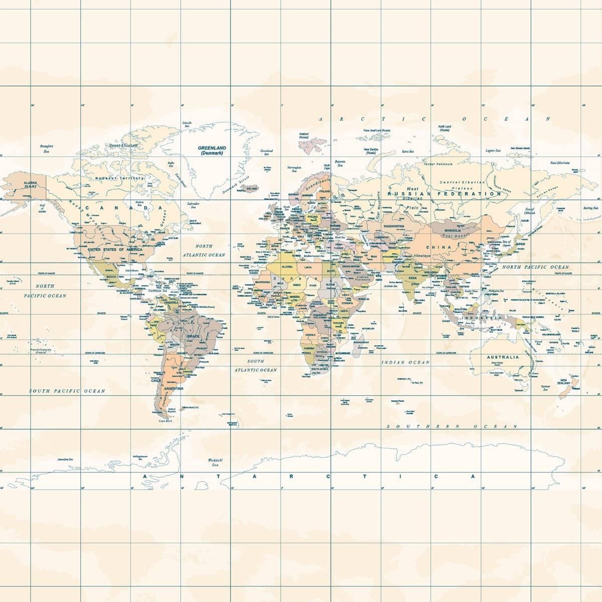 Papel de Parede Mapa Mundi Vintage | Painel Fotográfico m² imagem 2