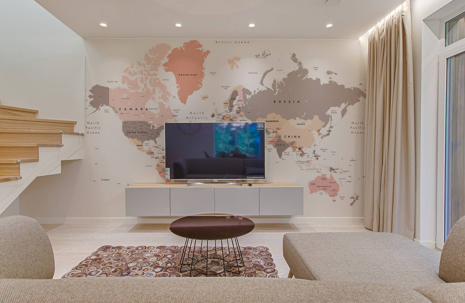 Mapa do Mundo Tom Pastel | Painel Fotográfico M² imagem 3