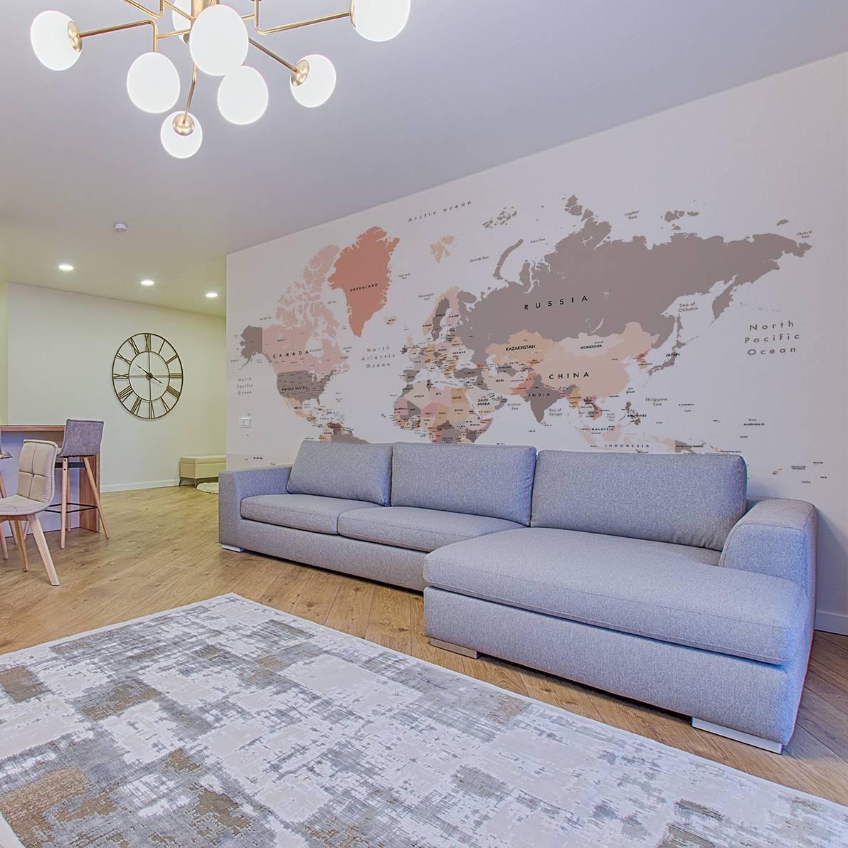 Mapa do Mundo Tom Pastel | Painel Fotográfico M² imagem 4