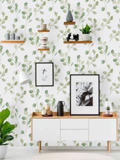 Papel de Parede Folhas verdes | Adesivo Vinílico