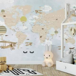 Painel Fotográfico Infantil Mapa Mundi Lúdico Balões / M2