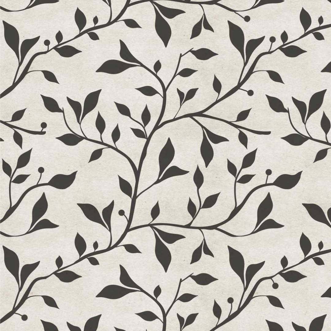 Papel de Parede Floral Preto e Branco | Adesivo Vinílico imagem 1