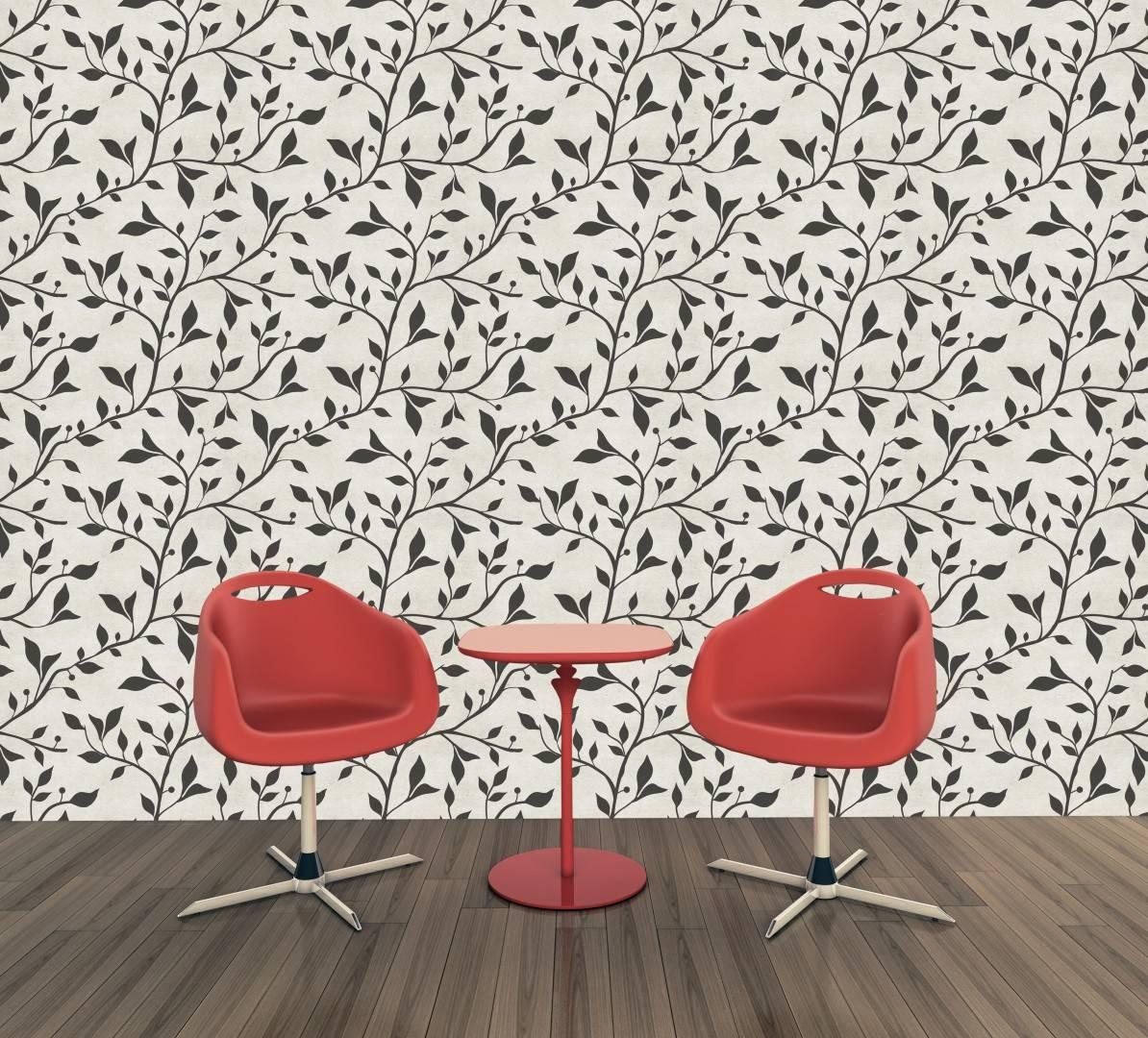 Papel de Parede Floral Preto e Branco | Adesivo Vinílico imagem 3