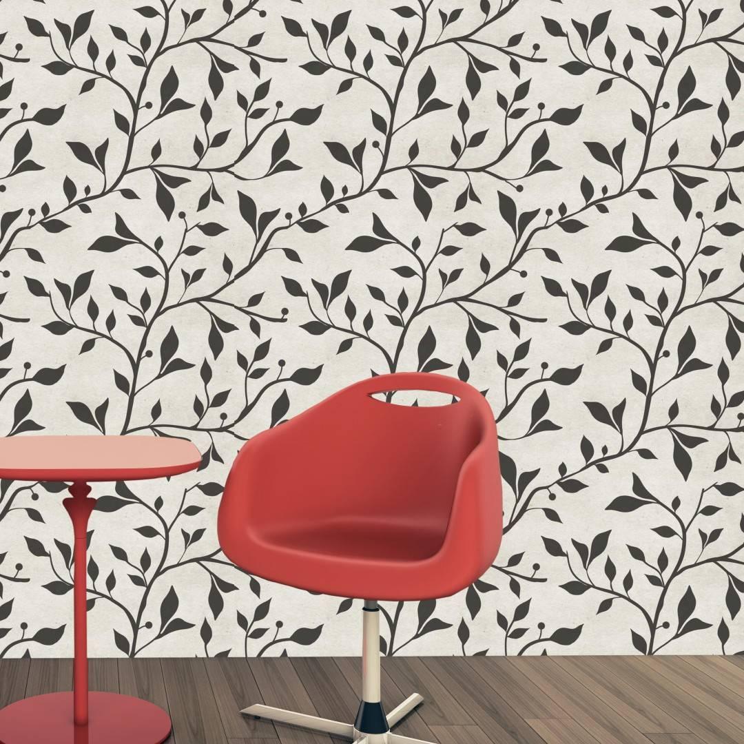 Papel de Parede Floral Preto e Branco | Adesivo Vinílico imagem 4