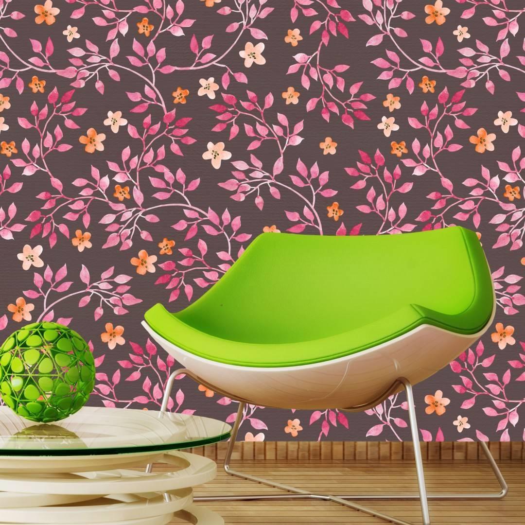 Papel de Parede Adesivo Floral/Rolo  imagem 2
