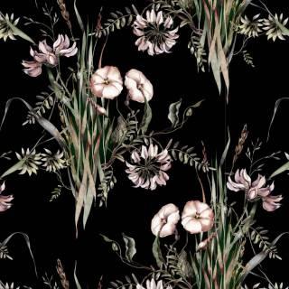 Papel de Parede Floral Preto | Adesivo Vinílico