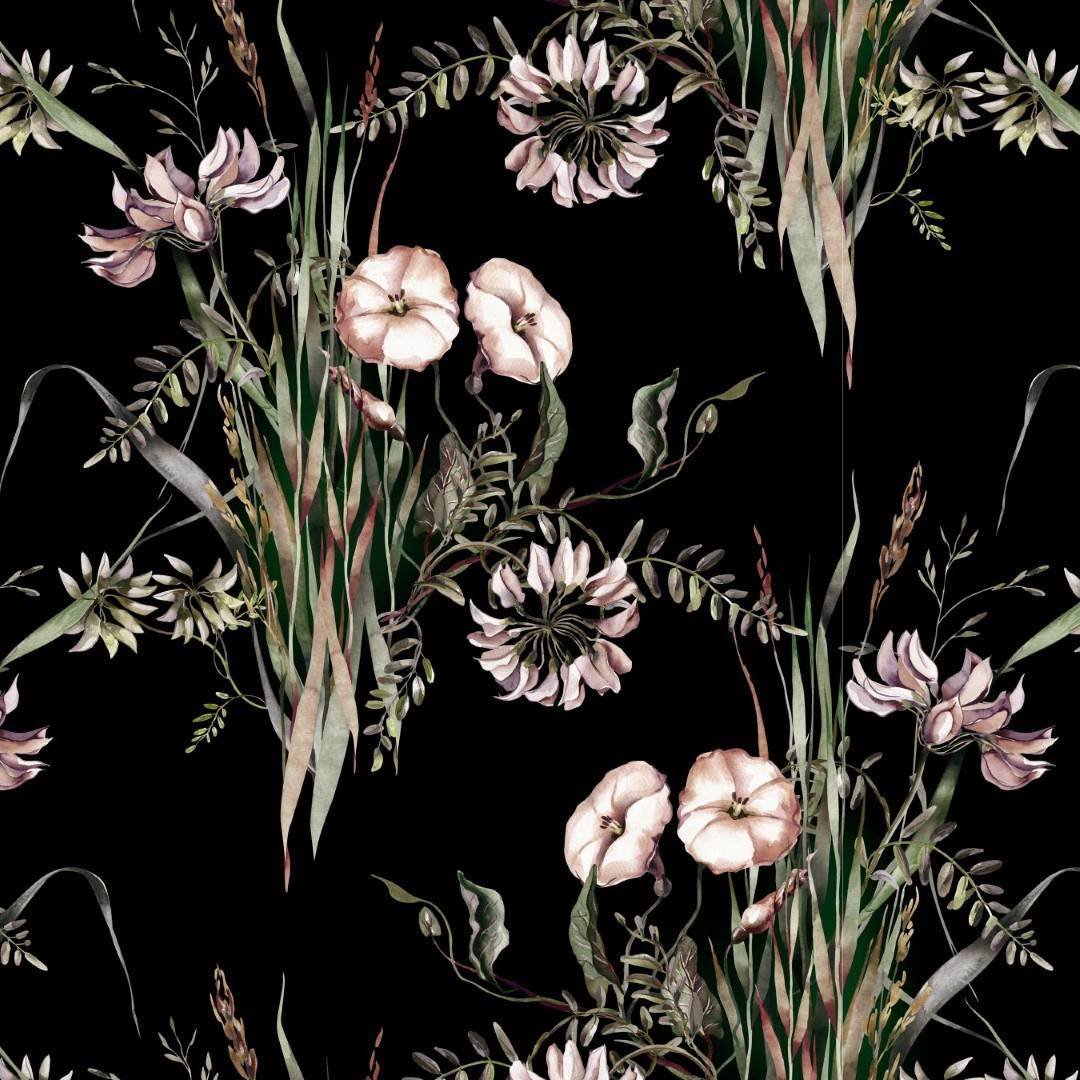 Papel de Parede Floral Preto | Adesivo Vinílico imagem 1