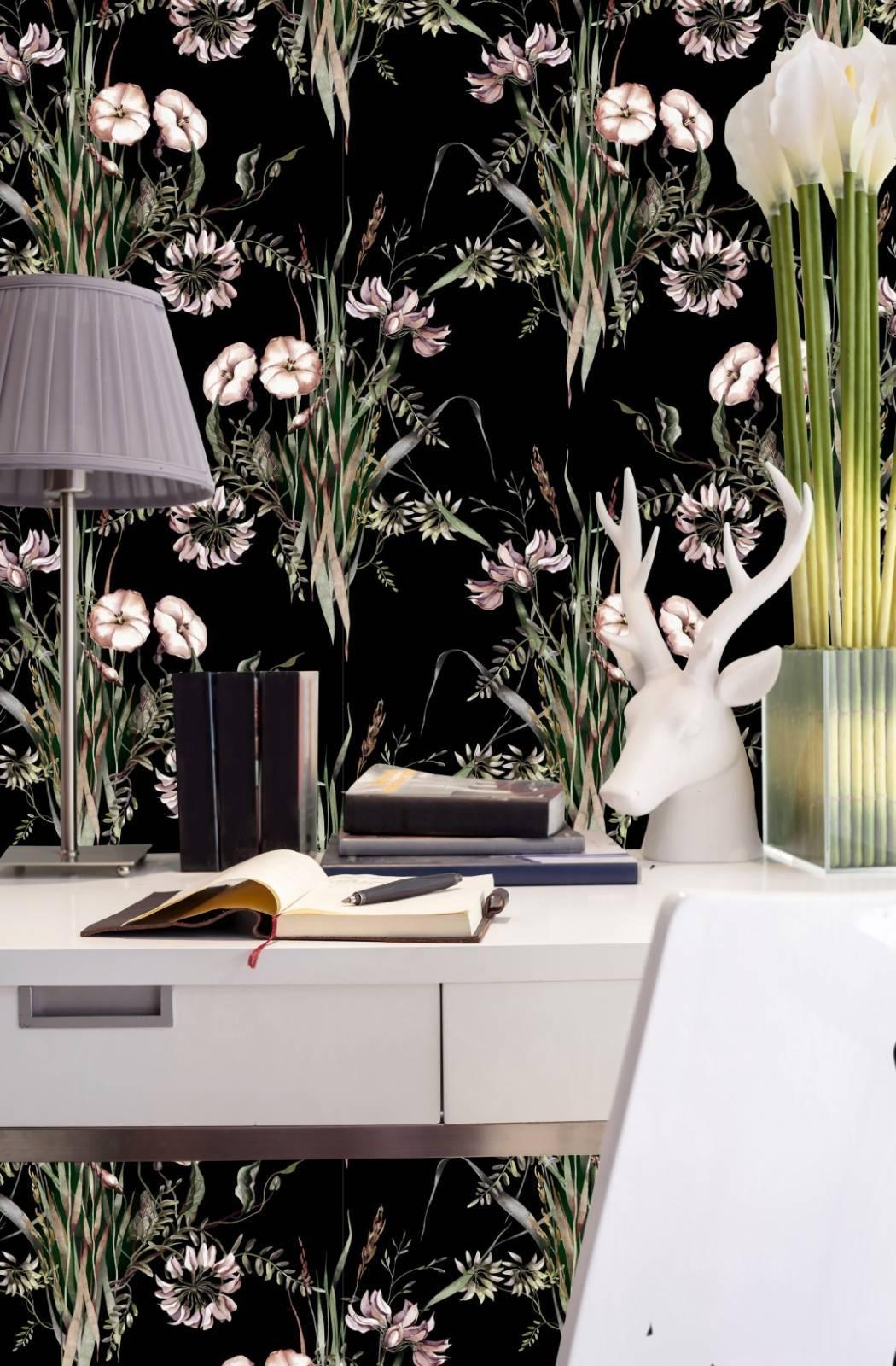 Papel de Parede Floral Preto | Adesivo Vinílico imagem 4