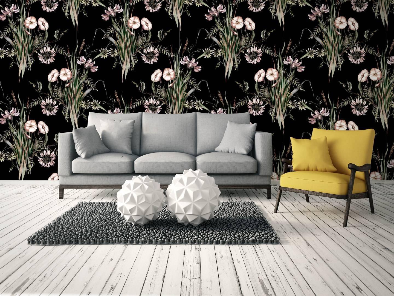 Papel de Parede Floral Preto | Adesivo Vinílico imagem 2