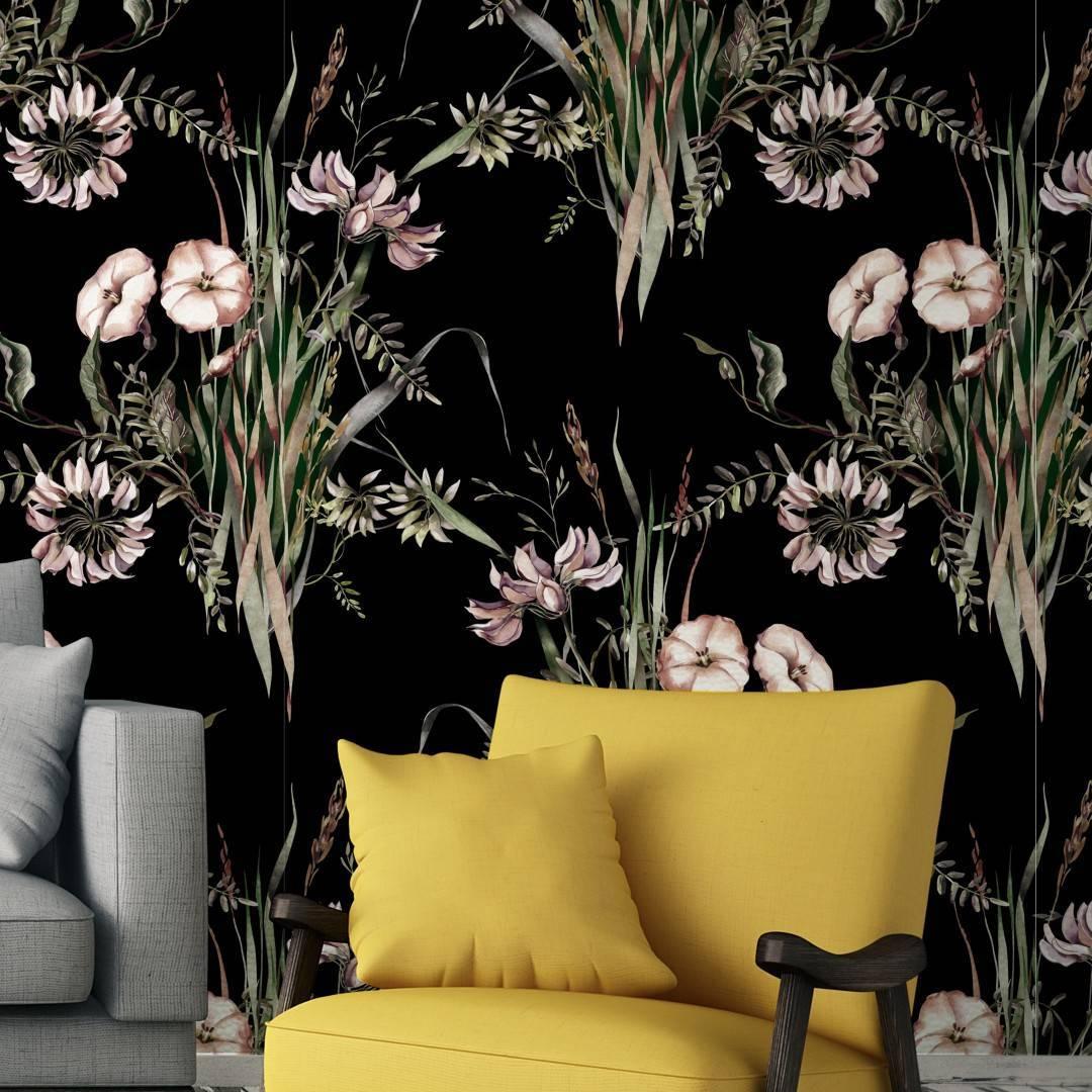 Papel de Parede Floral Preto | Adesivo Vinílico imagem 3