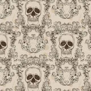 Papel de Parede Adesivo Skull Arabesco /Rolo