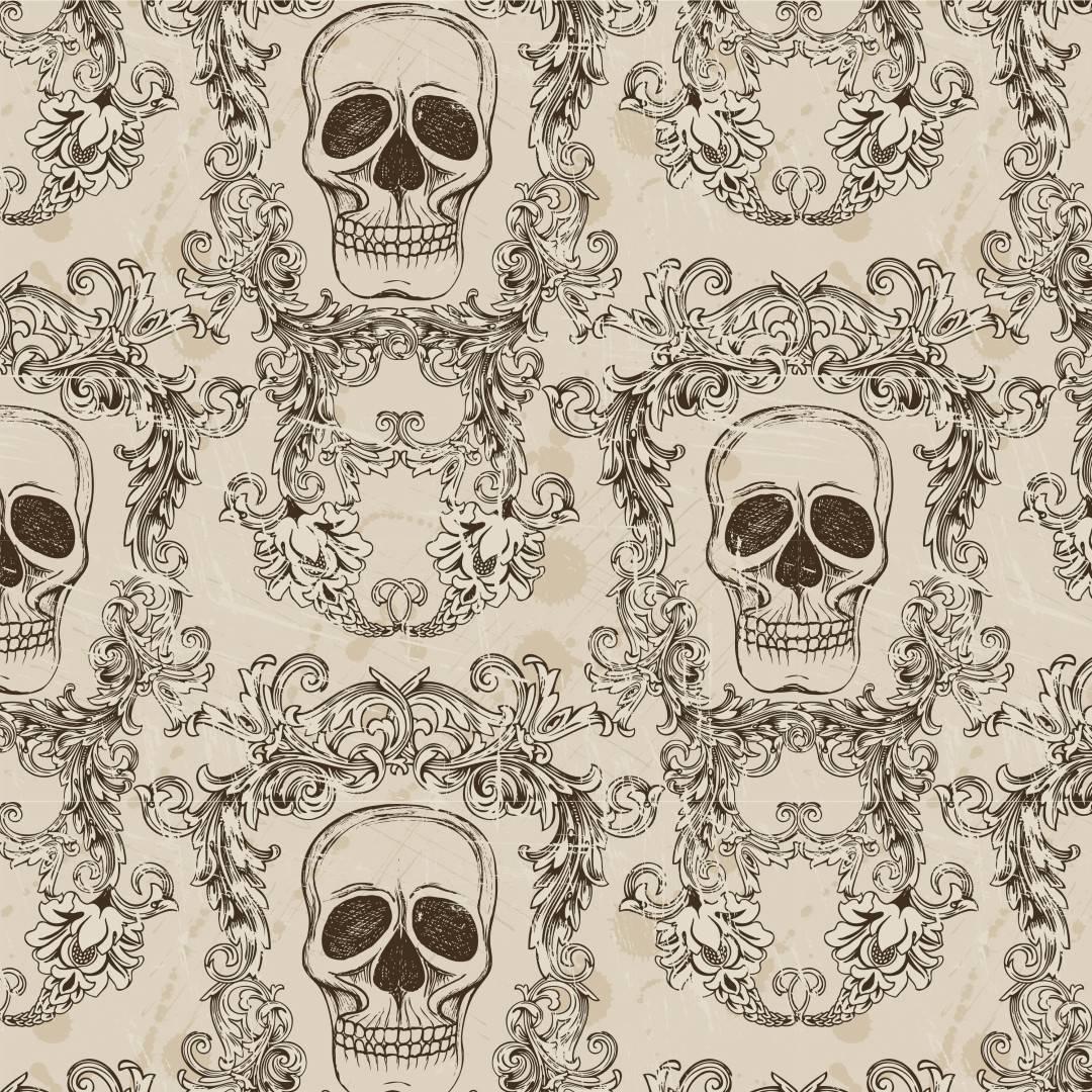 Papel de Parede Adesivo Skull Arabesco /Rolo imagem 1