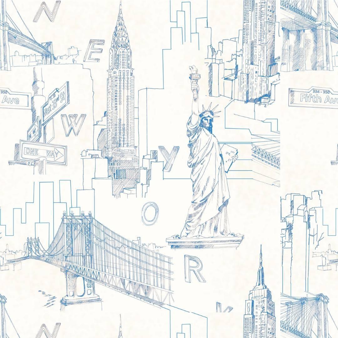 Papel de Parede Adesivo New York Features