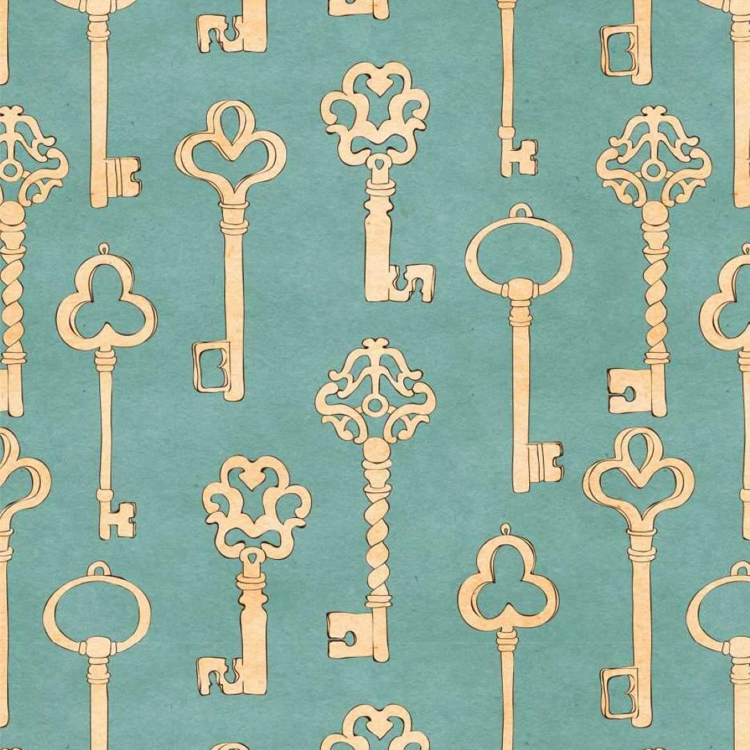 Papel de Parede Adesivo Vintage Keys/Rolo  imagem 1