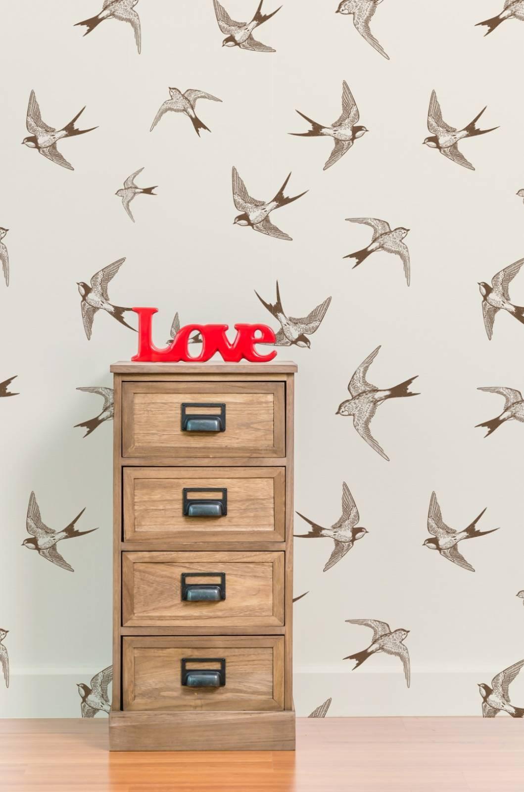 Papel de Parede Adesivo Brown Birds /Rolo imagem 3