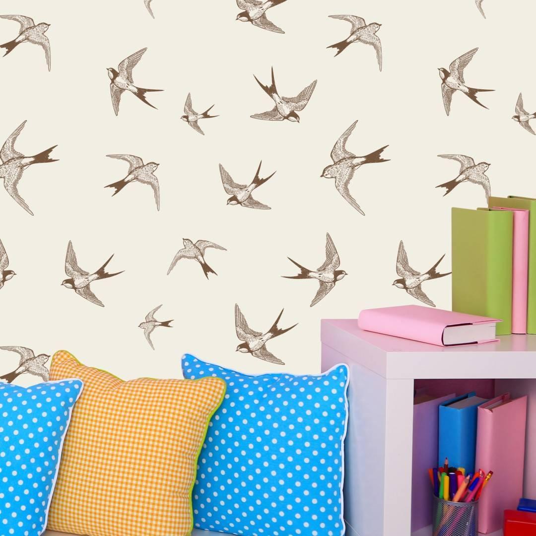 Papel de Parede Adesivo Brown Birds /Rolo imagem 4