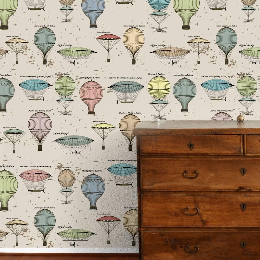 Papel de Parede Adesivo Vintage Balloon/Rolo   imagem 2