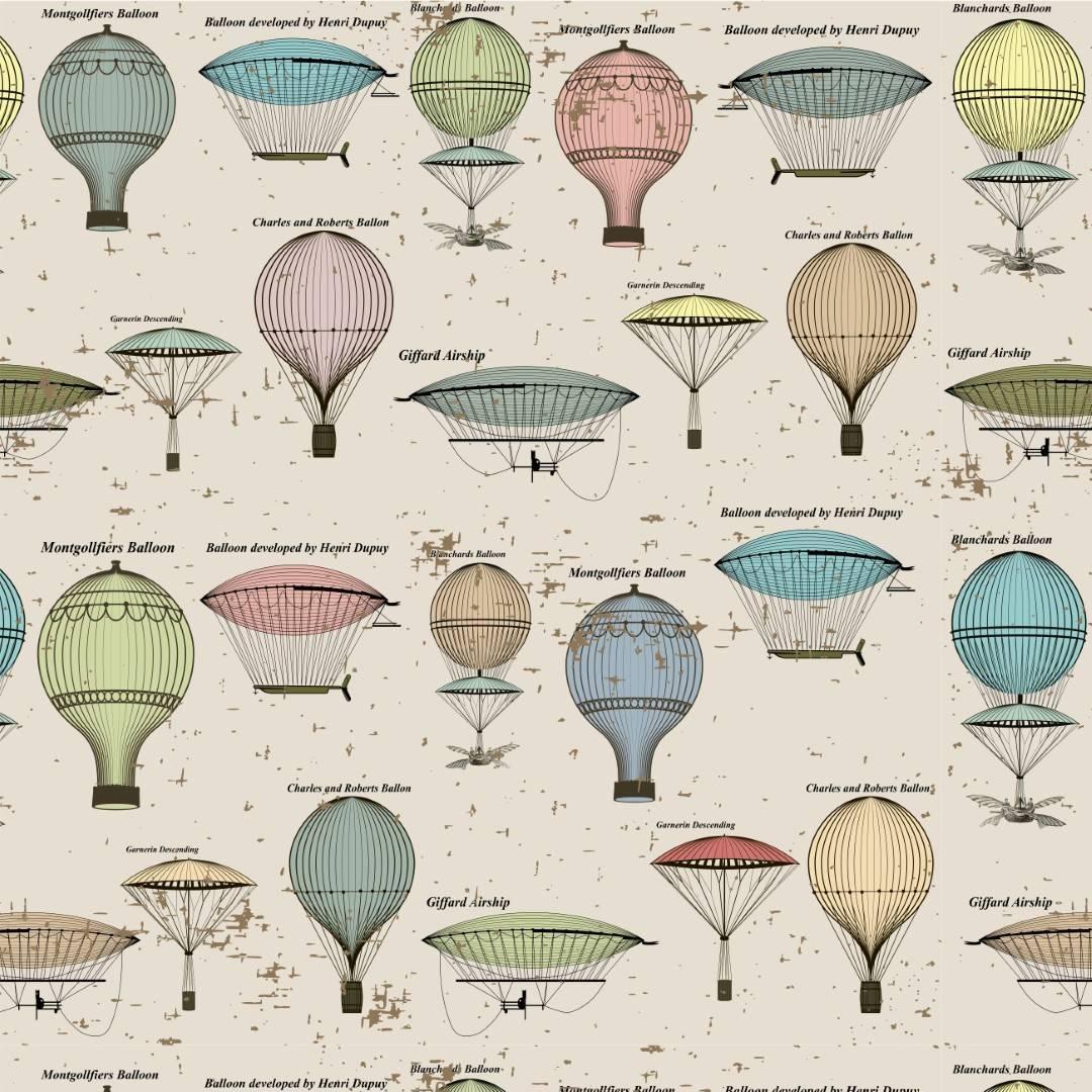 Papel de Parede Adesivo Vintage Balloon/Rolo   imagem 1