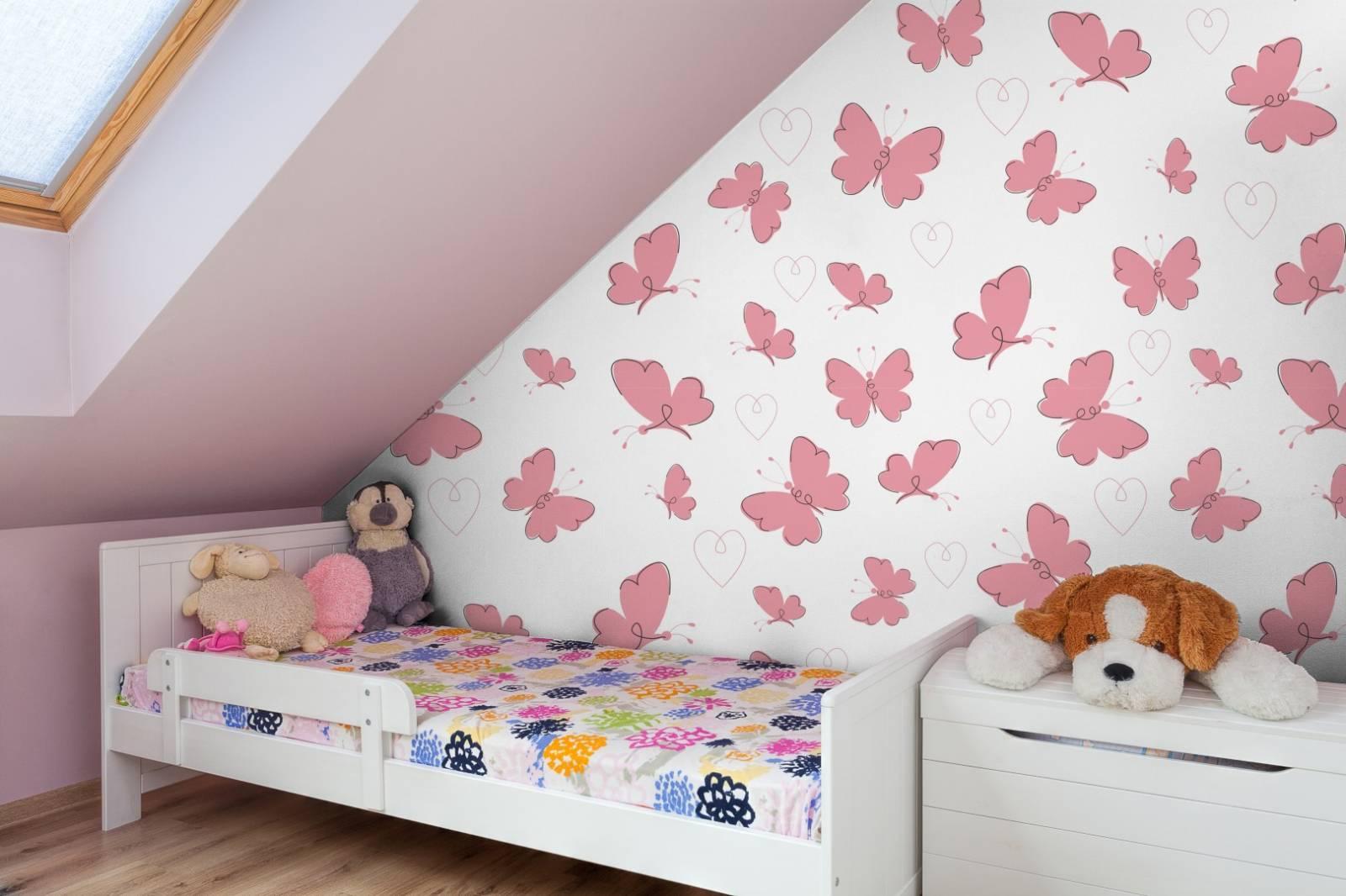 Papel de Parede Adesivo  Pink Butterflies /Rolo  imagem 3
