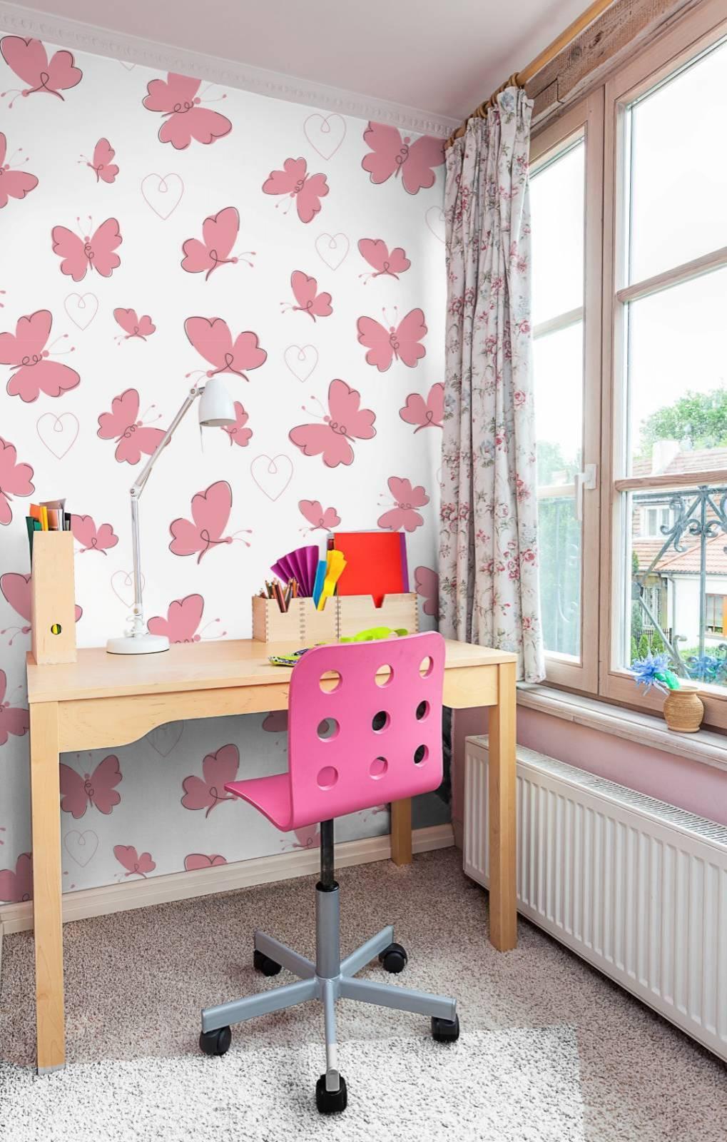 Papel de Parede Adesivo  Pink Butterflies /Rolo  imagem 4