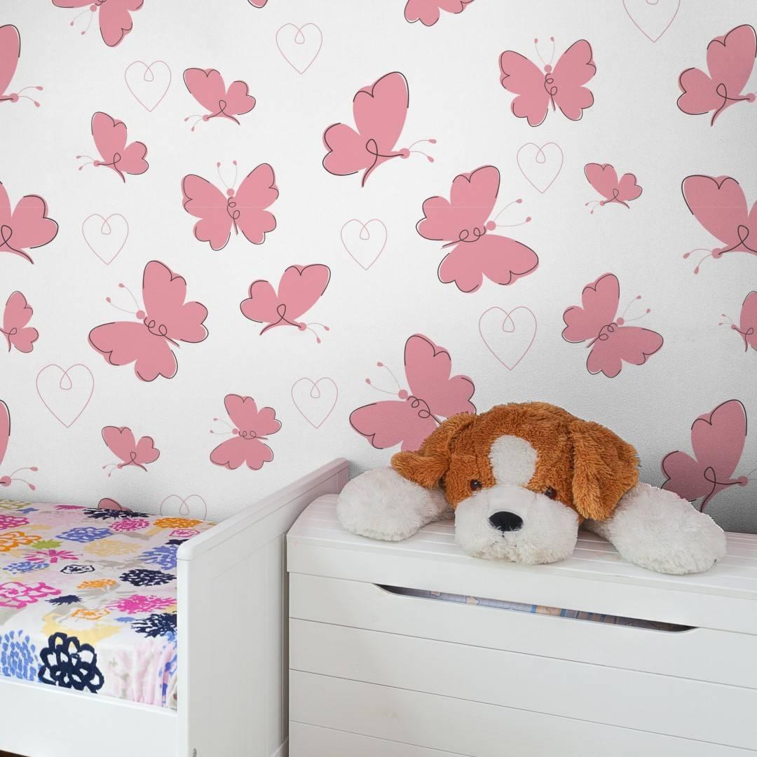 Papel de Parede Adesivo  Pink Butterflies /Rolo  imagem 2
