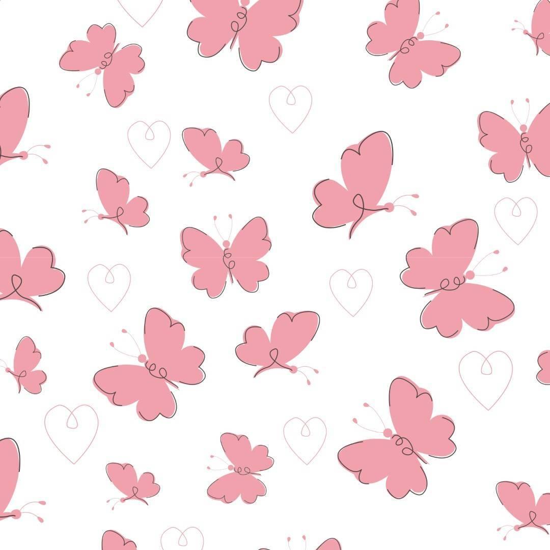 Papel de Parede Adesivo  Pink Butterflies /Rolo
