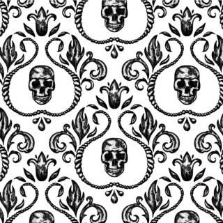 Papel de Parede Adesivo Skull Arabesco 2/Rolo