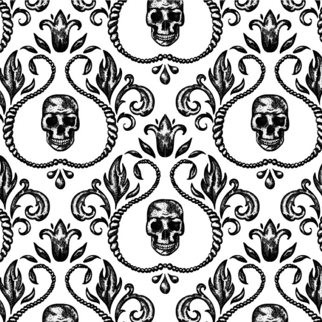 Papel de Parede Adesivo Skull Arabesco 2/Rolo  imagem 1
