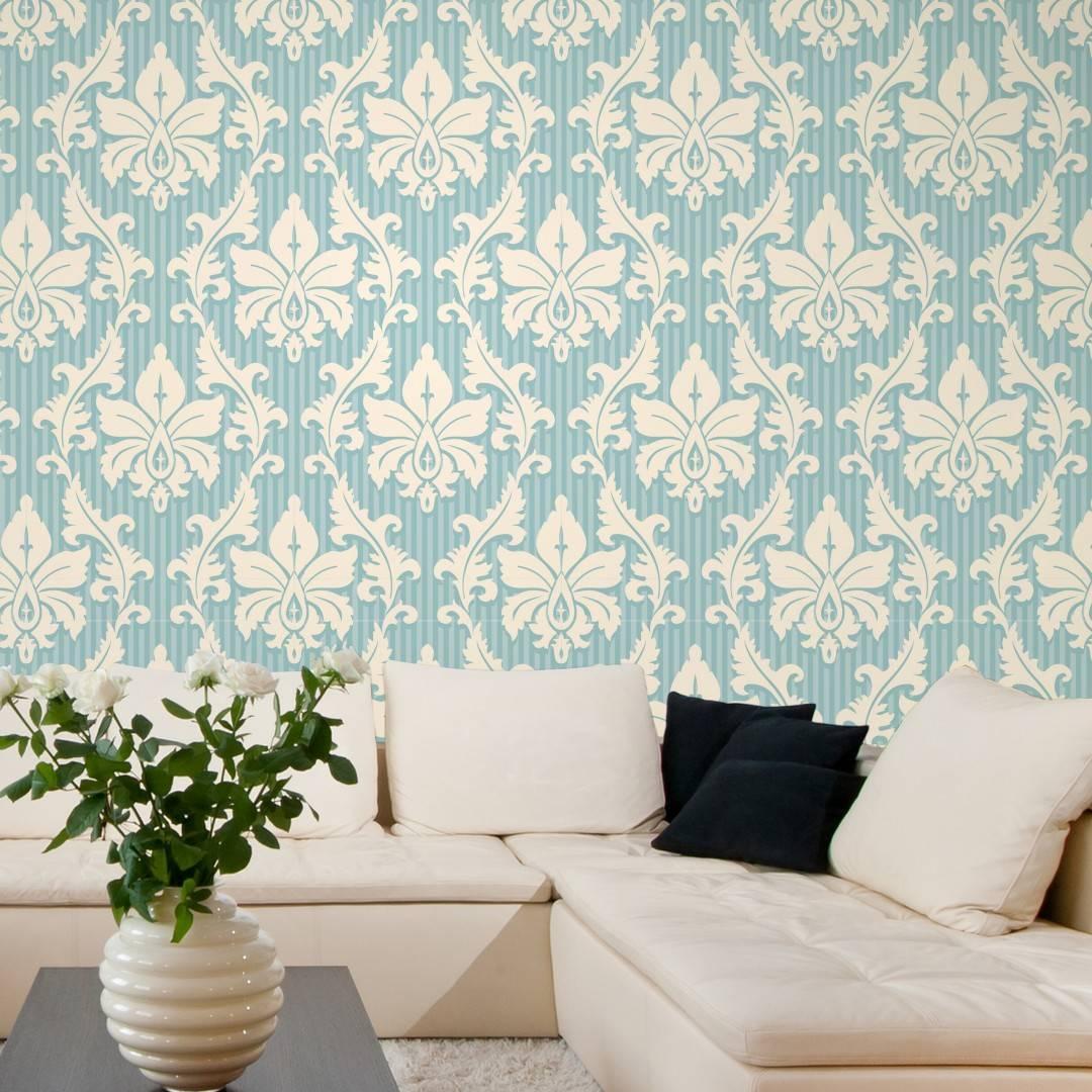 Papel de Parede Arabesco Azul e Branco| Adesivo Vinilico imagem 4