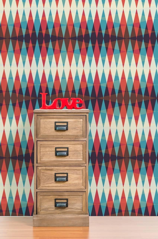Papel de Parede Geométrico Vermelho imagem 3