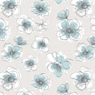 Papel de Parede Flores Azuis   Adesivo Vinilico