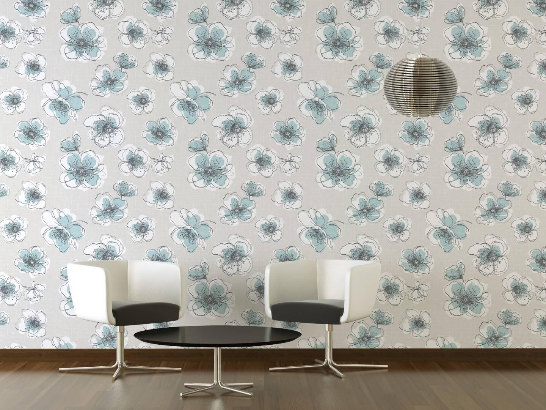 Papel de Parede Flores Azuis | Adesivo Vinilico imagem 2