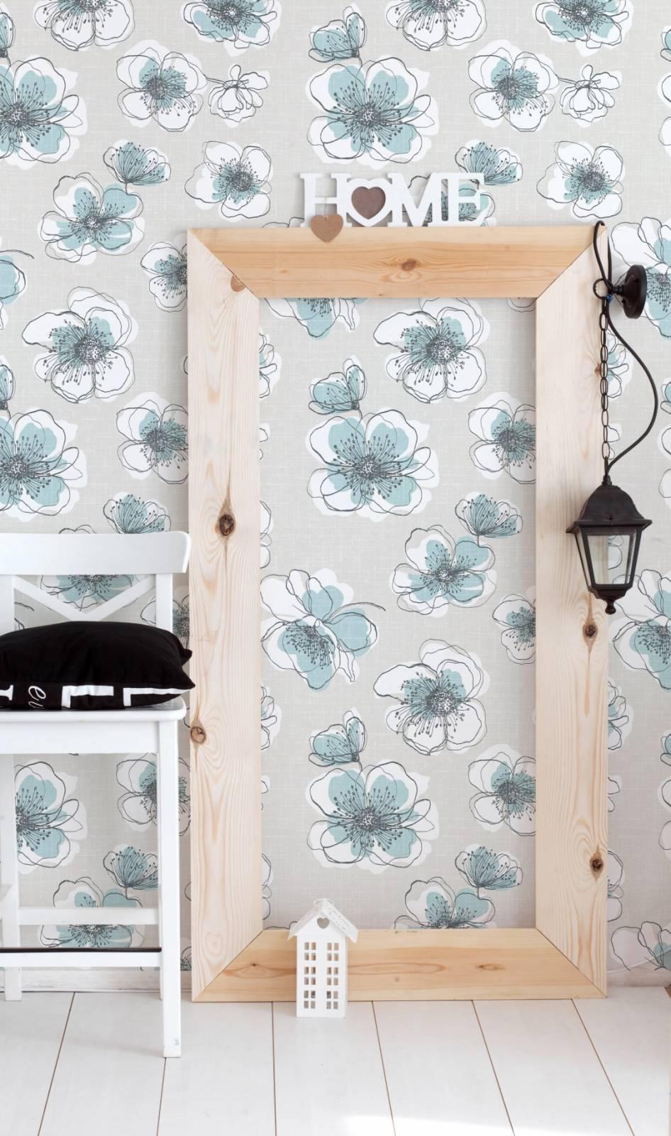 Papel de Parede Flores Azuis | Adesivo Vinilico imagem 4