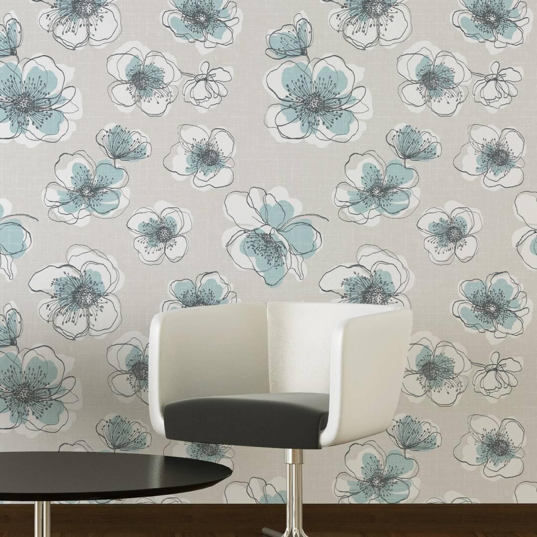 Papel de Parede Flores Azuis | Adesivo Vinilico imagem 3