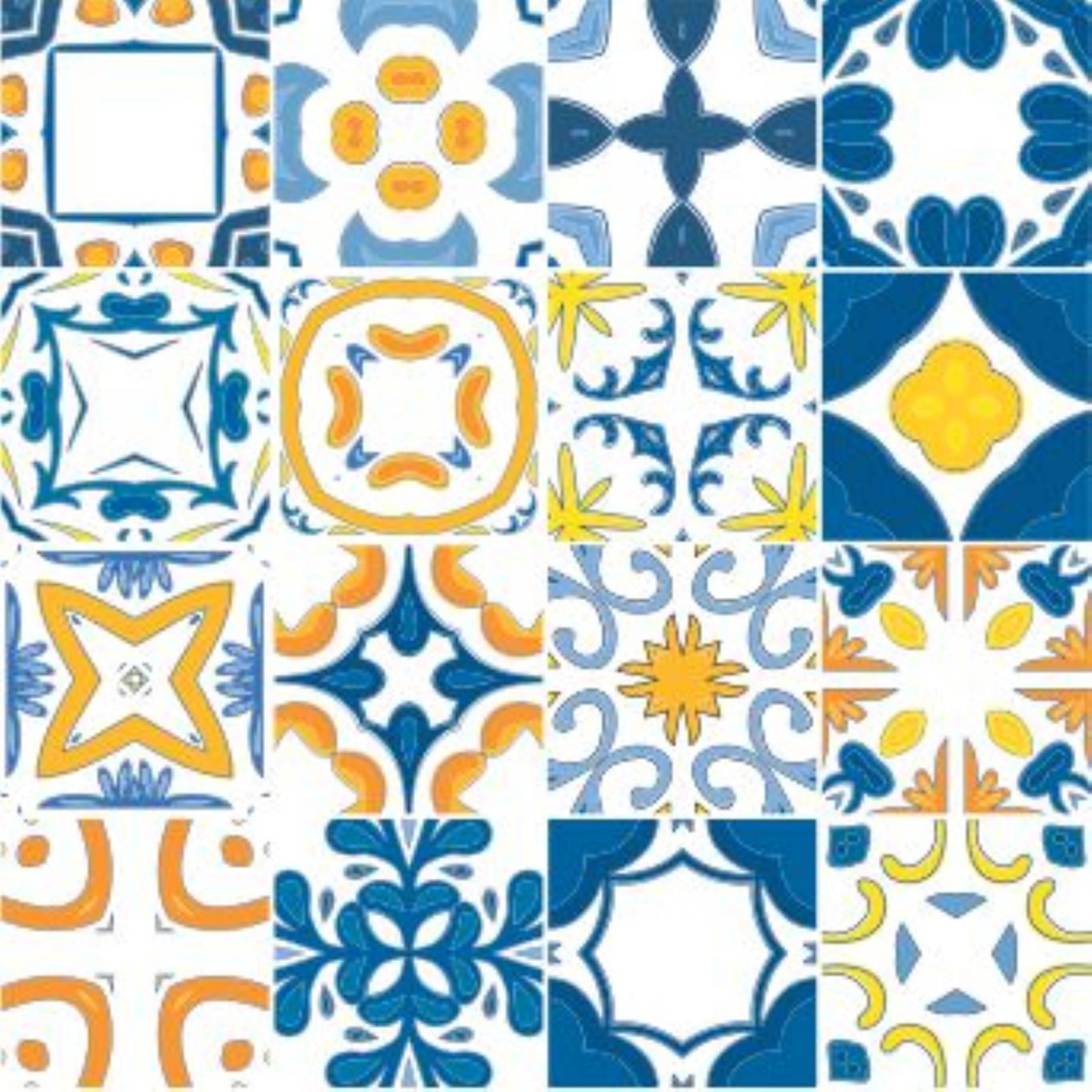 Adesivo para Azulejo - Azul e Amarelo  - Redecorei