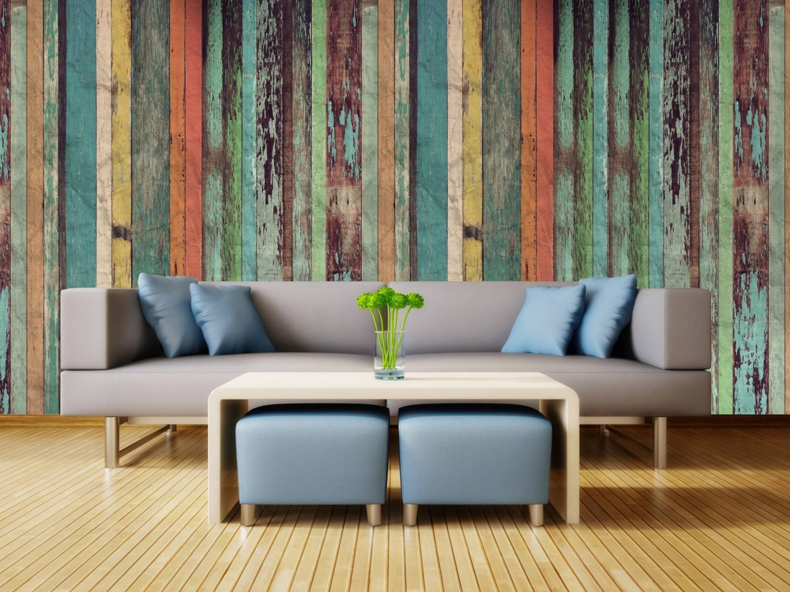 Papel de Parede Madeira de Demolição Colorida/Rolo  - Redecorei