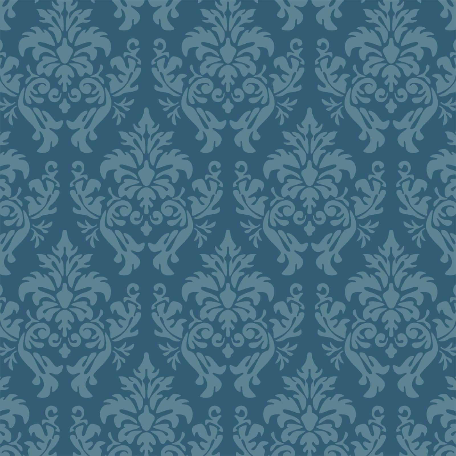 Papel de Parede Arabesco Azul | Rolo Adesivo imagem 1
