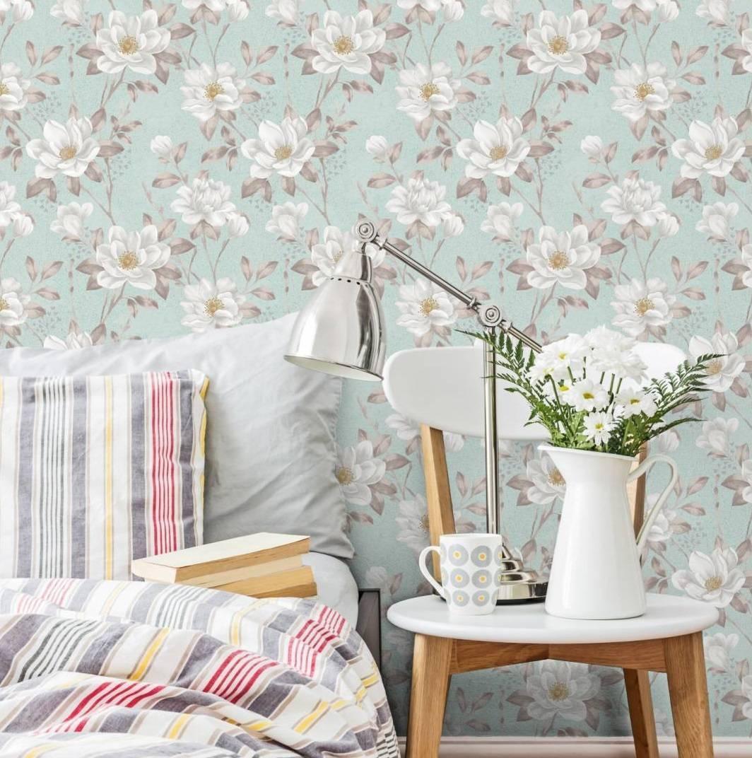Papel de Parede Floral Flores Brancas | Adesivo Vinilico imagem 2