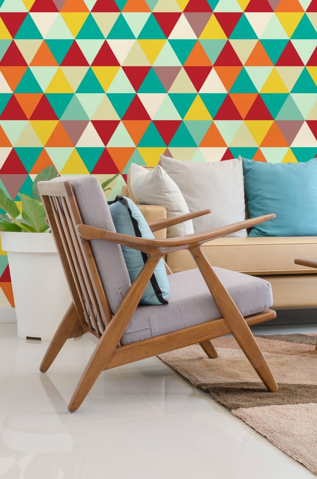 Papel de Parede Adesivo Geometrico Mosaico Colorido/Rolo  imagem 2